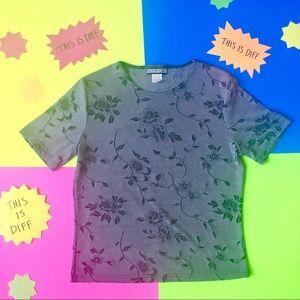 VTG 90s B&W Floral Rose Short Sleeve Top Tshirt M